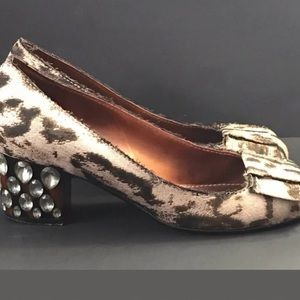 LANVIN Jeweled heels pumps 6.5 brown animal print